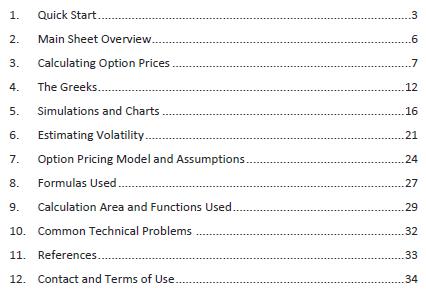 Black-Scholes Calculator PDF Guide table of contents