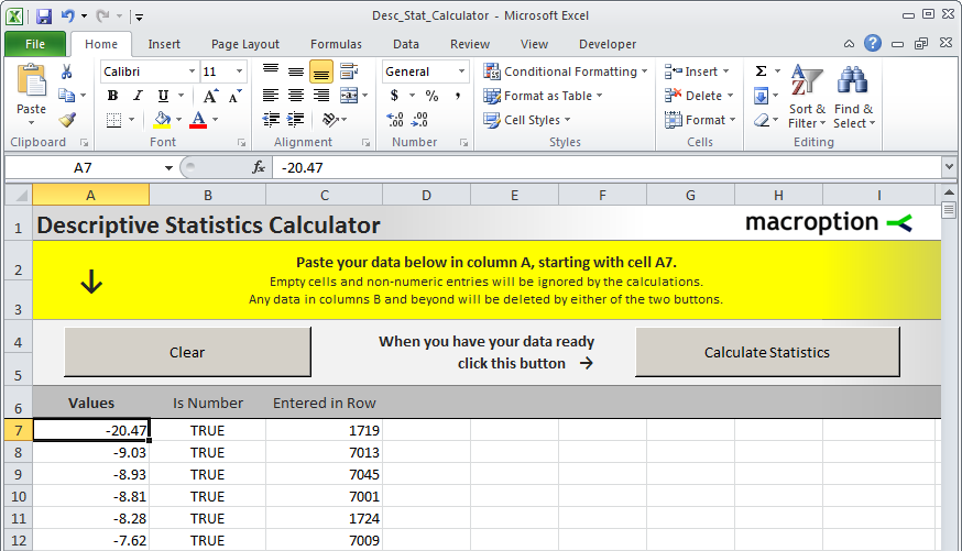 Descriptive Statistics Calculator - data entry sheet