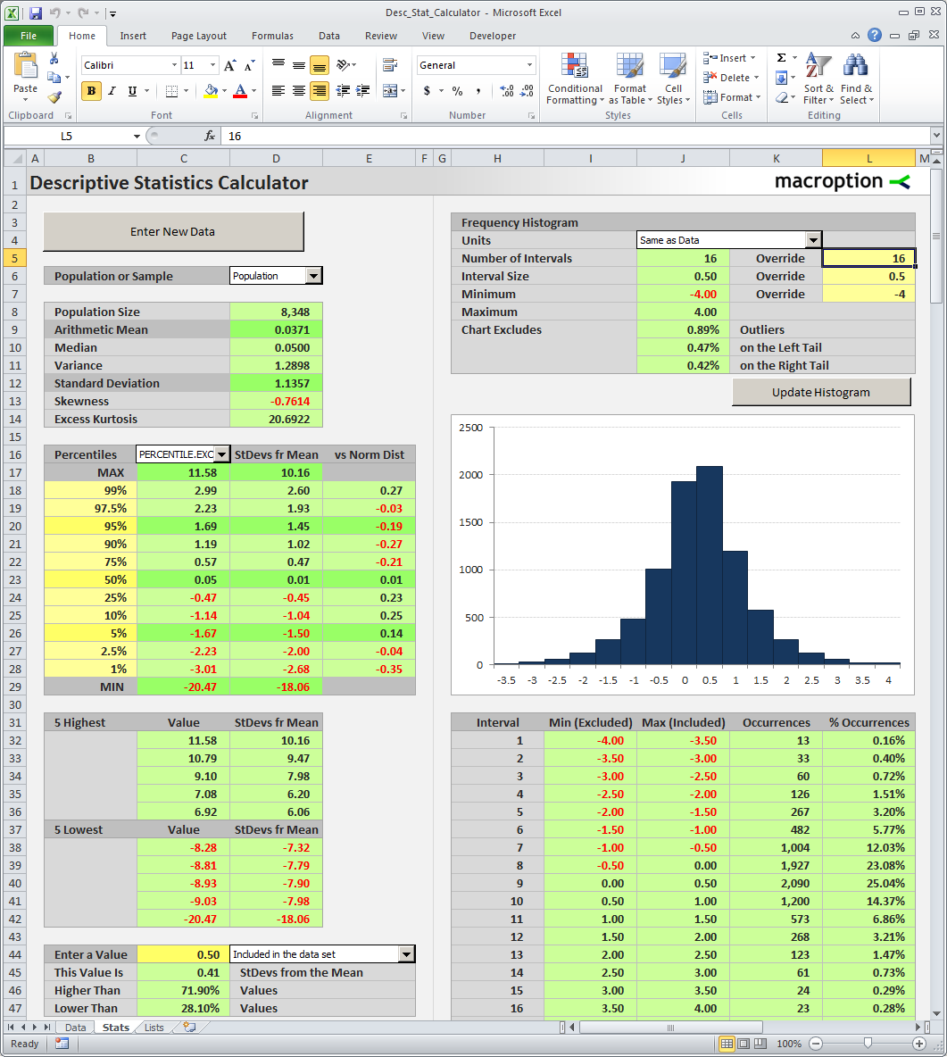Descriptive Statistics Calculator - the main sheet