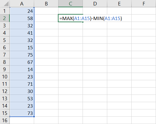 Calculating Range in Excel with MIN and MAX