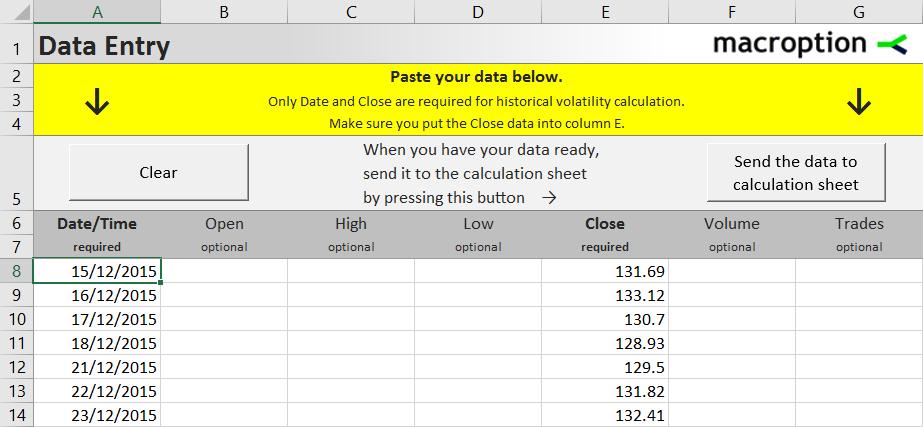 Historical Volatility Calculator
