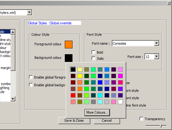 Changing background color in Notepad++