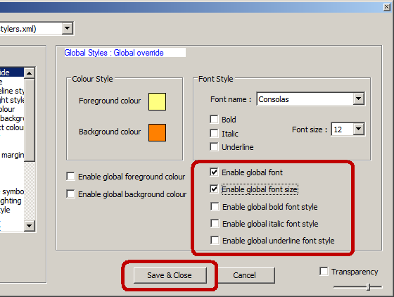 Enable global font in Notepad++