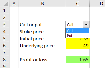 Calculating Call and Put Option Payoff in Excel - Macroption