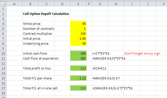 call option payoff calculation in excel