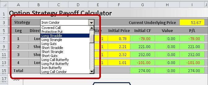 Options strategies calculator