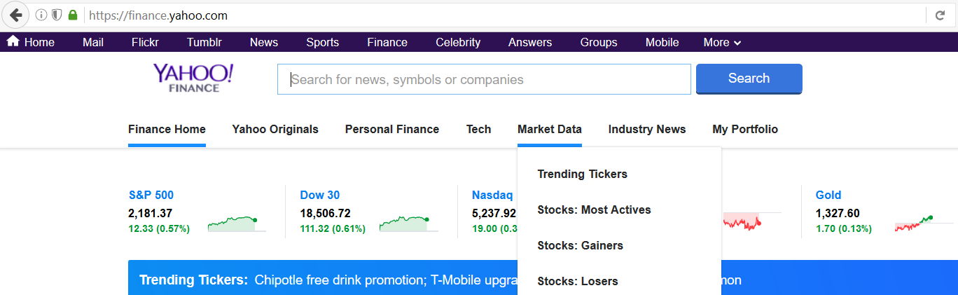 Yahoo Finance Market Data categories